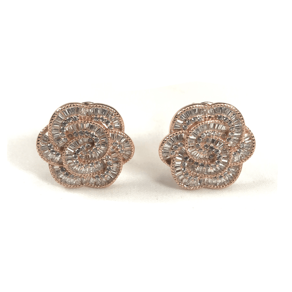 Italian CZ Baguette Flower Earrings - 3 Color Options Sterling Silver With Rose Gold Plating Itsallagift