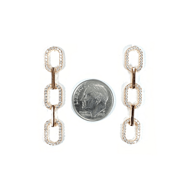 Link Styled Earrings With Pave' Accent Itsallagift