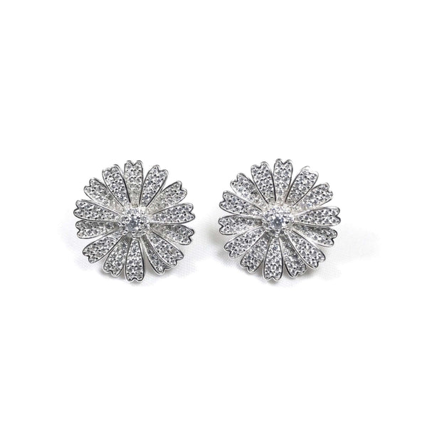 Pave Flower Petal Earrings Silver Itsallagift