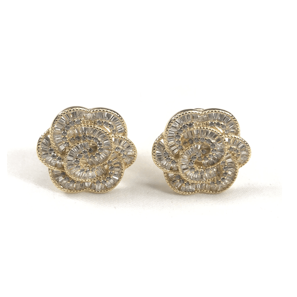 Italian CZ Baguette Flower Earrings - 3 Color Options Sterling Silver With Yellow Gold Plating Itsallagift