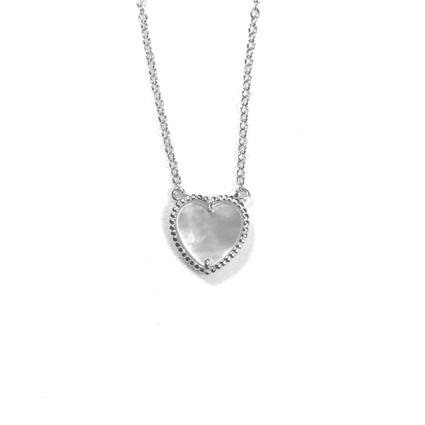 Small Mother Of Pearl Heart Necklace Silver Itsallagift