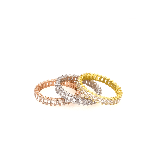 Set Of Tricolor Rings With CZ Baguette Stones Itsallagift