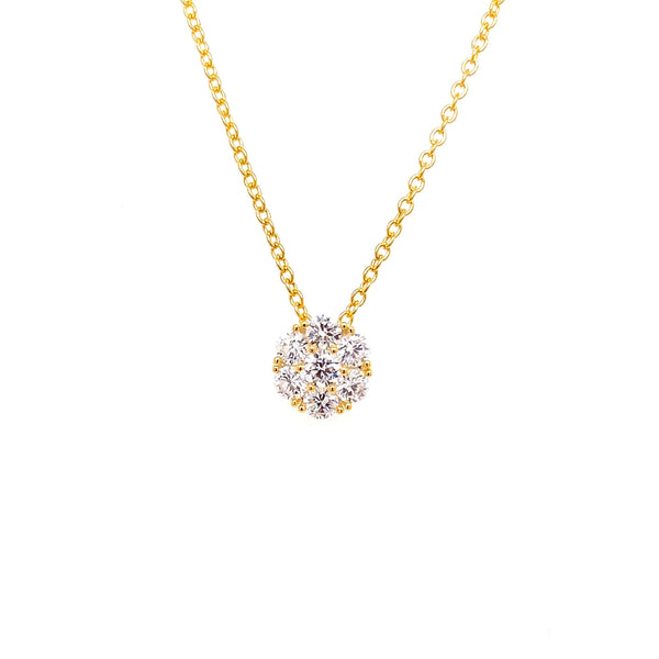 Cluster Flower Necklace With White CZ Stones Gold Itsallagift