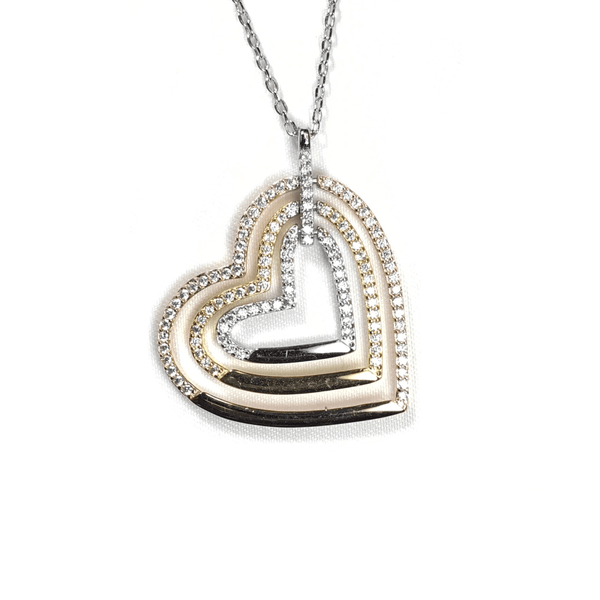 Tri-Color Triple Open Heart With CZ Border Itsallagift
