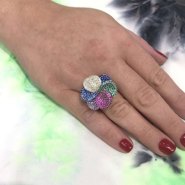 Bright Rainbow Flower Ring Itsallagift