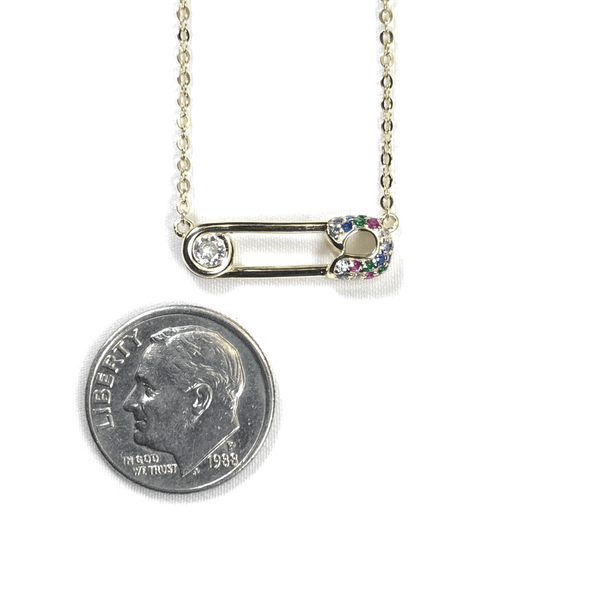 Safety Pin Necklace With Rainbow CZ Stones Itsallagift