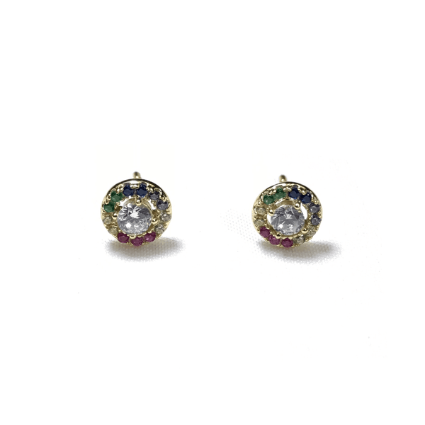Round Rainbow Stud Earrings With White CZ Center Stone Itsallagift
