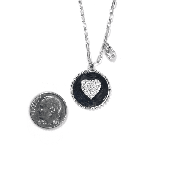 Round Pendant Necklace With Center CZ Heart Itsallagift