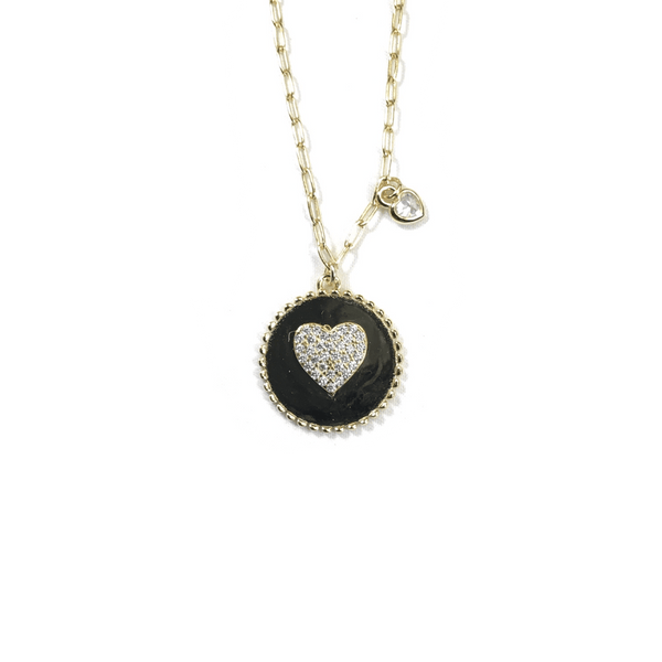 Round Pendant Necklace With Center CZ Heart Gold Itsallagift