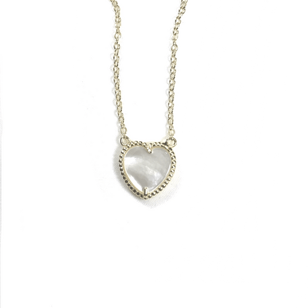 Small Mother Of Pearl Heart Necklace Gold Itsallagift