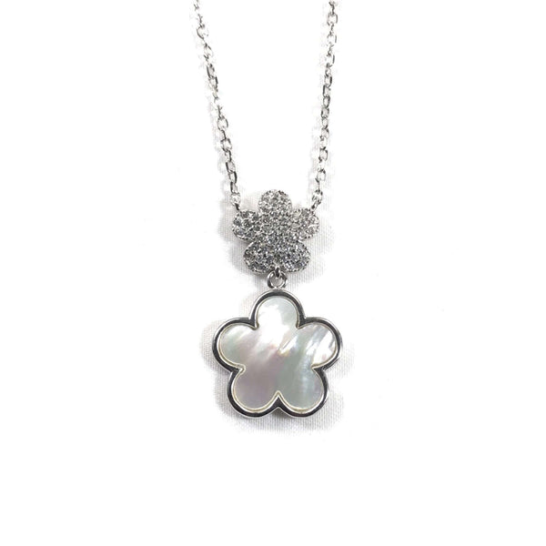 Small CZ Flower With Mother Of Pearl Flower Necklace Silver Itsallagift