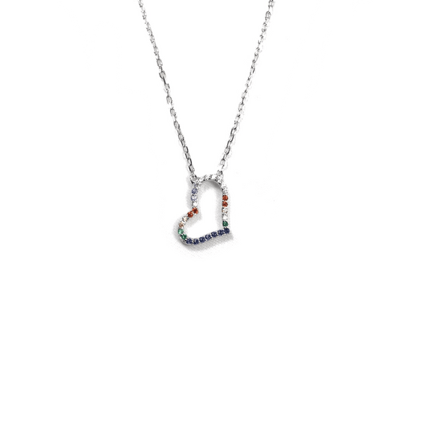 Sterling Silver Rainbow Heart Necklace Itsallagift