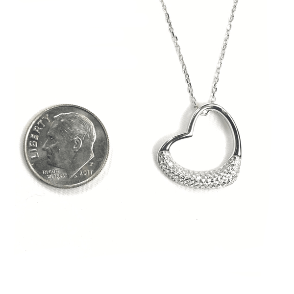 Open Heart Necklace With Half Pave Border Itsallagift