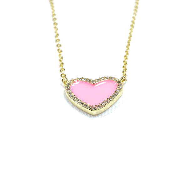 Pink Enamel Heart Necklace With CZ Stone Border Itsallagift