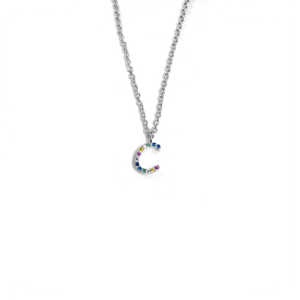 Rainbow CZ Initial Letter Necklace Itsallagift