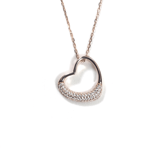Open Heart Necklace With Half Pave Border Rose Gold Itsallagift