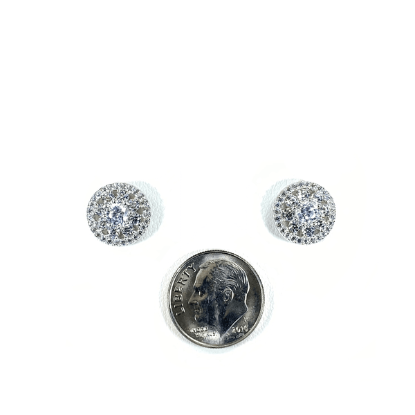 Flower Cluster Earring Studs With CZ Halo Itsallagift