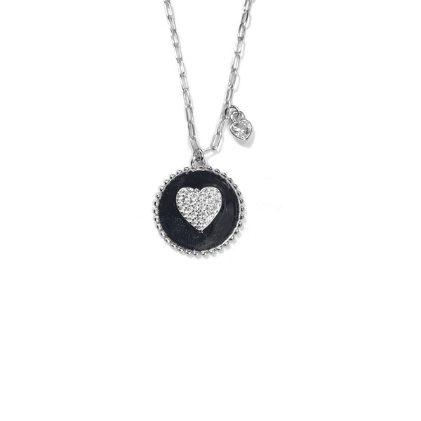 Round Pendant Necklace With Center CZ Heart Silver Itsallagift