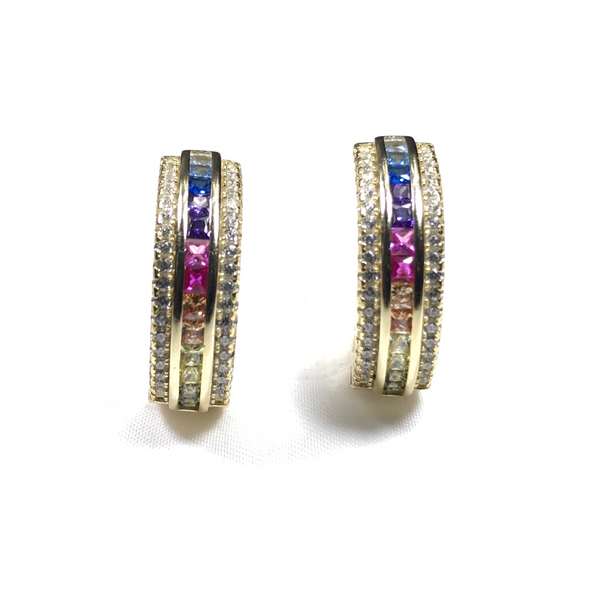 Channel Set Rainbow CZ With White CZ Border Hoop Earrings Itsallagift