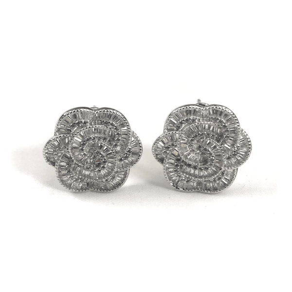 Italian CZ Baguette Flower Earrings - 3 Color Options Sterling Silver With Platinum Plating Itsallagift