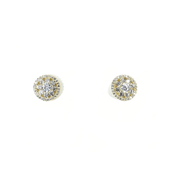 Flower Cluster Earring Studs With CZ Halo Gold Itsallagift