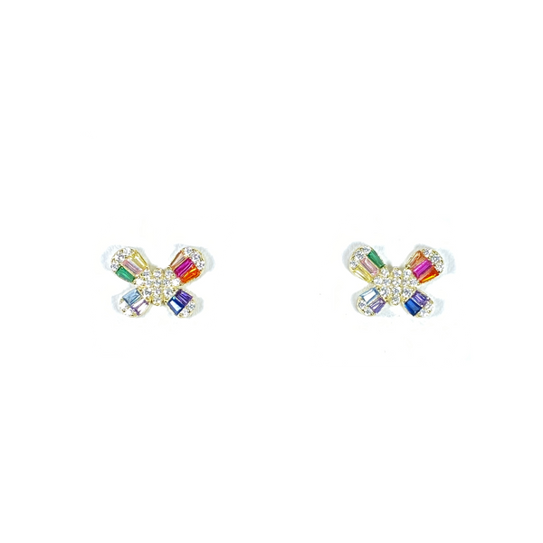Butterfly Stud Earrings With Rainbow CZ Baguette Stones Itsallagift