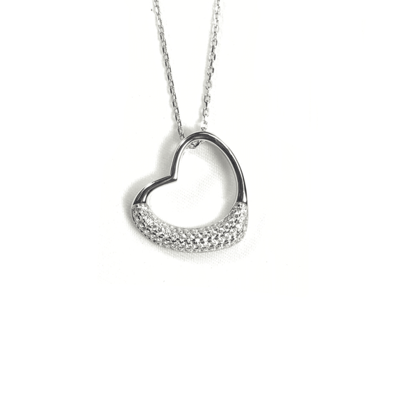 Open Heart Necklace With Half Pave Border Silver Itsallagift