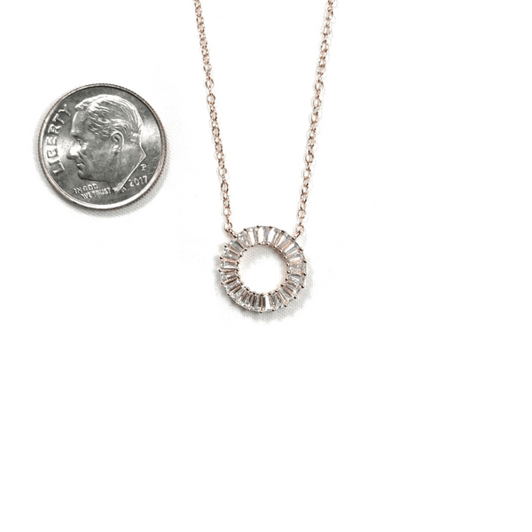 Open Circle Necklace With CZ Baguette Border Itsallagift