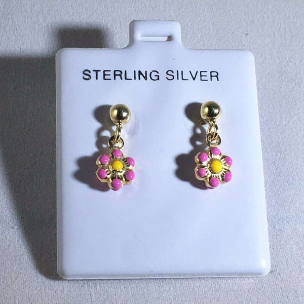 Kids Enamel Flower Earrings Light Pink Itsallagift