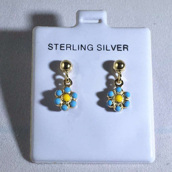 Kids Enamel Flower Earrings Turquoise Itsallagift