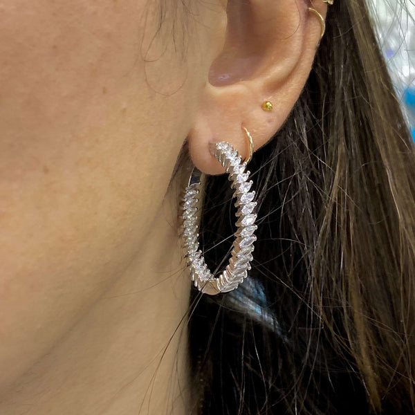 Large Hoop Earrings With Marquise Stone Design Itsallagift