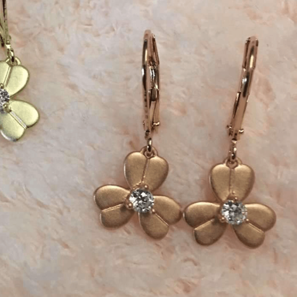 Matte Gold Flower Earrings Rose Gold Itsallagift