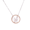 Mother of Pearl Disc with CZ Border Necklace Itsallagift