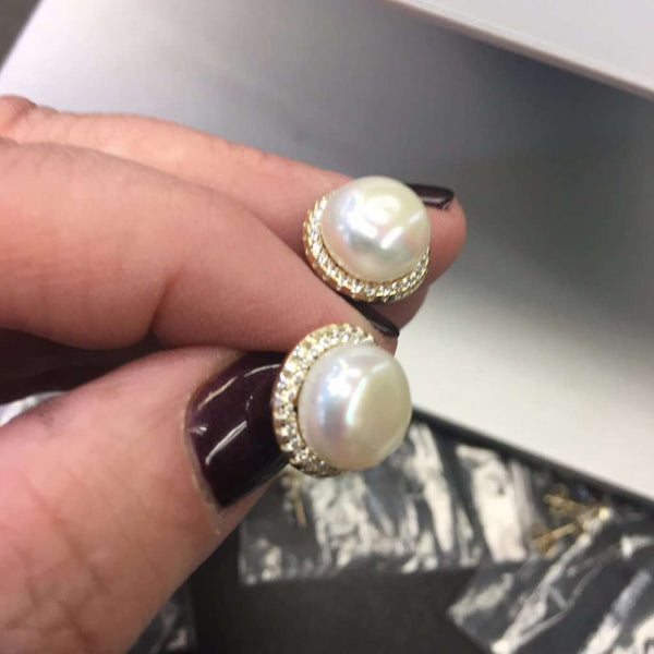Gold Earrings With Center Pearl And Cz Halo Itsallagift