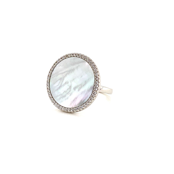 Round Ring With Mother Of Pearl Center And White CZ Halo - 2 Colors Available! Silver / Size 6 Itsallagift