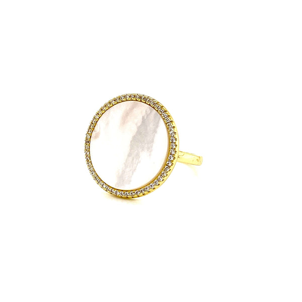 Round Ring With Mother Of Pearl Center And White CZ Halo - 2 Colors Available! Gold / Size 7 Itsallagift