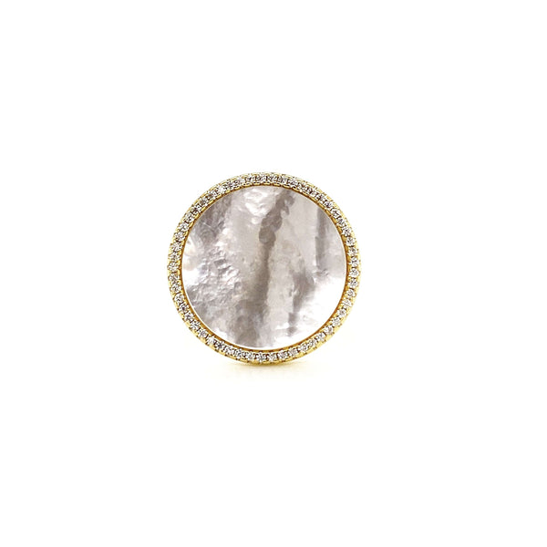 Round Ring With Mother Of Pearl Center And White CZ Halo - 2 Colors Available! Itsallagift