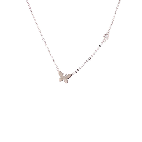 Small Butterfly Pendant With CZ Stone Chain Accent Silver Itsallagift