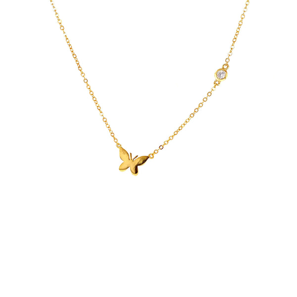 Small Butterfly Pendant With CZ Stone Chain Accent Gold Itsallagift