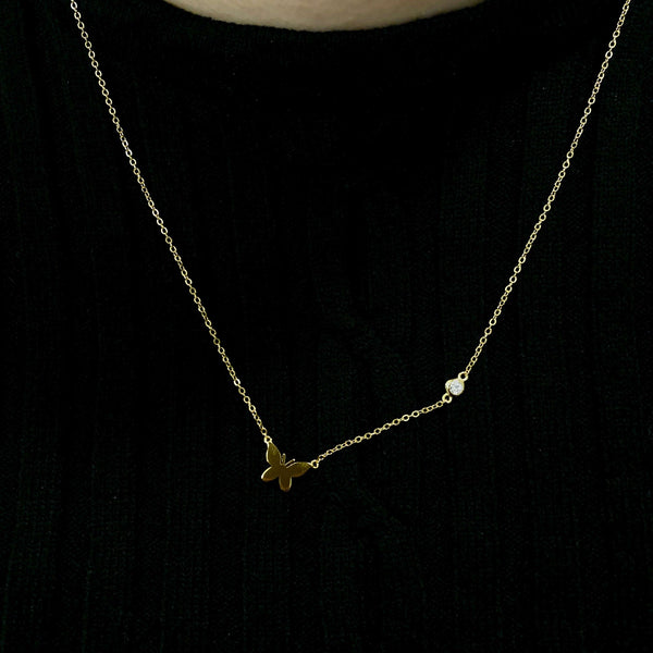 Small Butterfly Pendant With CZ Stone Chain Accent Itsallagift