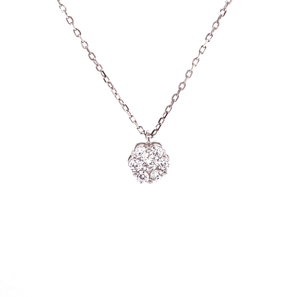 Small Cluster Flower Necklace With White CZ Stones Itsallagift