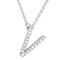 Small Initial Necklace With Micro Pave CZ Stones V Itsallagift
