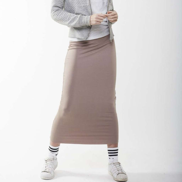 Long Midi Tube Skirt Seasonal Colors Taupe / Small Itsallagift