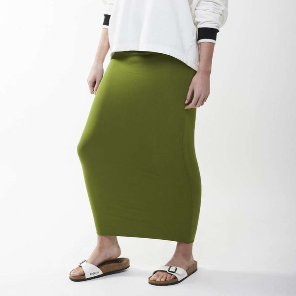 Long Midi Tube Skirt Seasonal Colors Pesto Green / Small Itsallagift