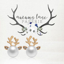 Load image into Gallery viewer, Christmas Pearl Deer Earrings