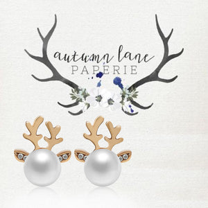 Christmas Pearl Deer Earrings