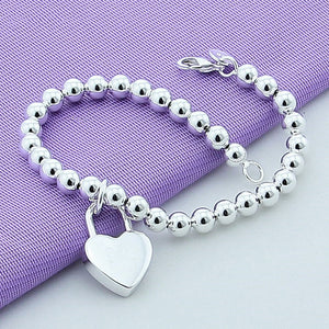 925 Silver Plated Heart Lock Bracelet
