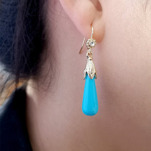 Blue Moon Crystal Drop Earrings