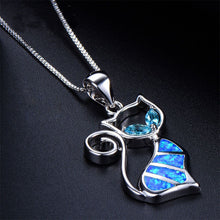 Load image into Gallery viewer, Blue Fire Cat Pendant and Earrings