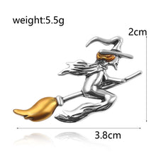 Load image into Gallery viewer, Witch Riding Broomstick Brooch